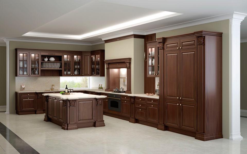 Кухня из массива дерева коричневого цвета
